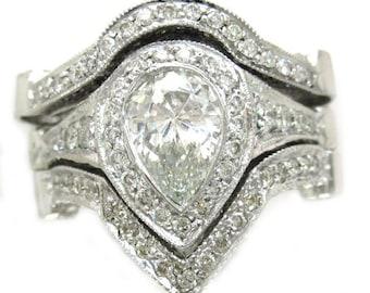 14k white gold pear shape diamond engagement ring and 2 bands bezel set 2.75ctw