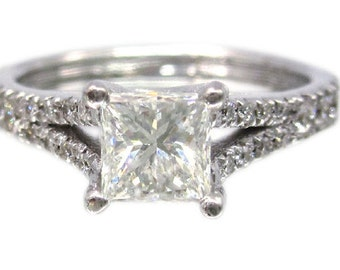 18k white gold princess cut diamond engagement ring split band art deco 1.50ctw