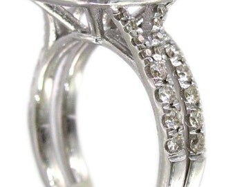 18k white gold cushion cut diamond enagement ring and band halo art deco design 1.88ctw