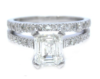 Emerald cut diamond engagement ring and band prong set 1.56ctw