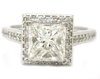 14k white gold princess cut diamond engagement ring art deco 2.00ctw