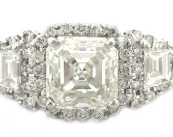 14k white gold asscher cut and round cut diamond engagement ring 2.50ctw