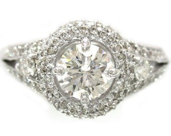 14k white gold round cut diamond engagement ring art deco 1.46ctw