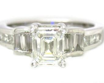 14k white gold asscher cut diamond engagement ring 1.62ctw