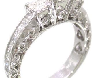 14k white gold princess cut diamond engagement ring antique style 2.30ctw