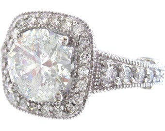 18k white gold round cut diamond engagement ring art deco antique style 2.90ctw