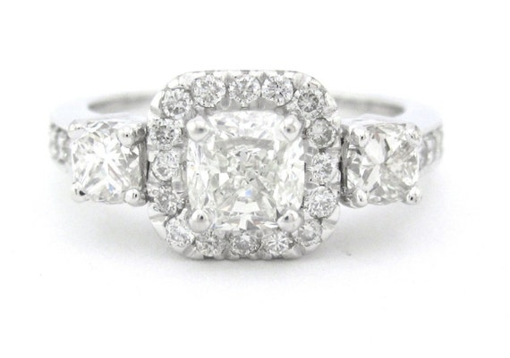 Cushion cut diamond engagement ring art deco 1.76ctw