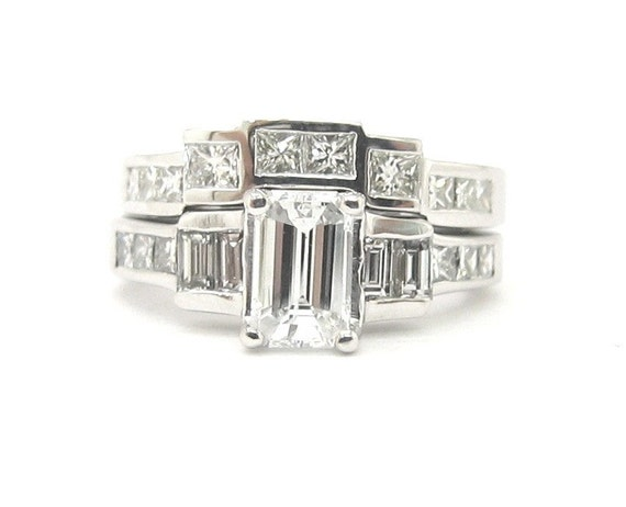 Emerald cut diamond engagement ring and band set 2 45ctw