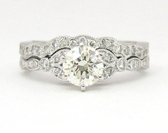 Round antique diamond engagement ring and band 18k 1.10ctw
