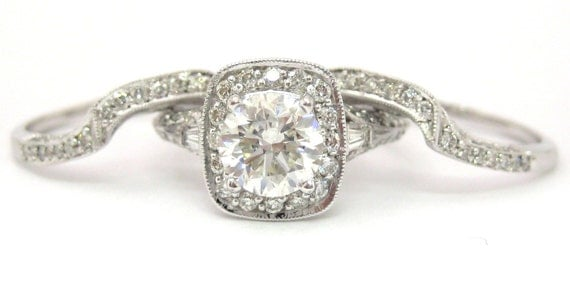 Round and baguette diamond engagement ring and bands 2.75ctw