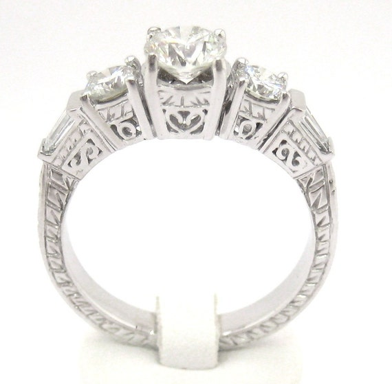 Round and baguette diamond engagement ring 18k 1.23ctw