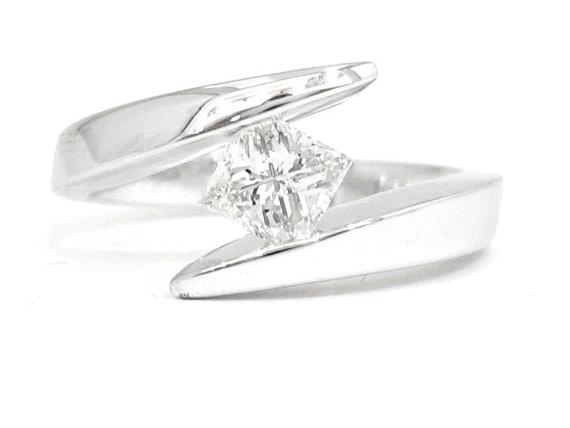14k white gold princess cut engagement ring tension