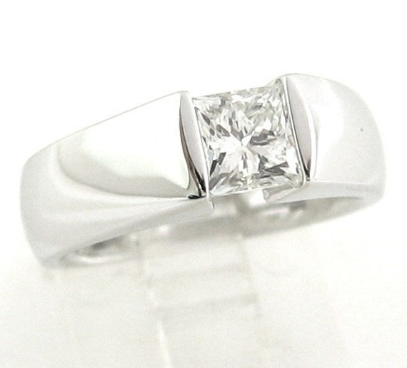 Princess Cut Diamond Engagement Ring Tension Set 100ctw By KNRINC