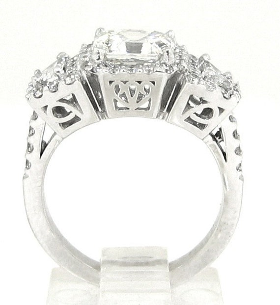Asscher and round cut diamond engagement ring 18k 2.78ctw