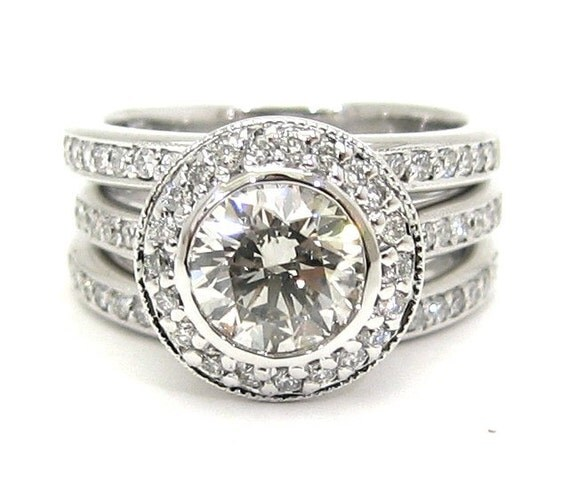 Round diamond engagement ring and bands bezel set 2.14ctw