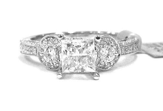 Princess and round cut diamond engagement ring antique 1.32ctw 18k