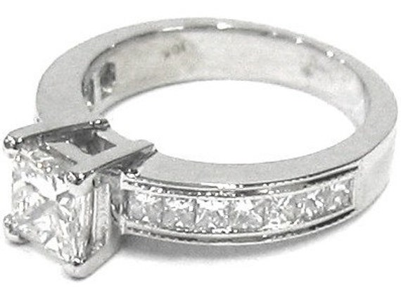 Princess cut diamond engagement ring art deco 1.70ctw