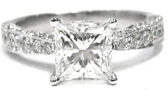 Princess and round cut diamond engagement ring 1.70ctw