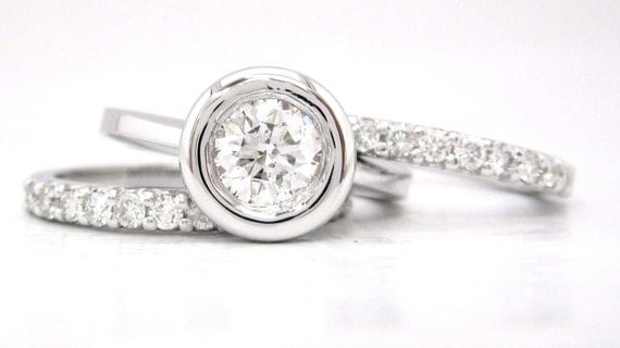 Round cut diamond engagement ring and bands bezel set 1.69ctw