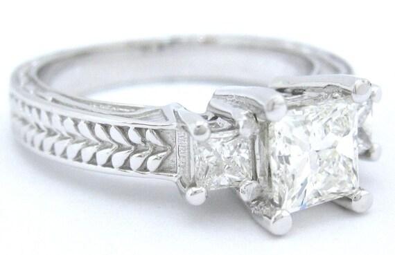 Princess cut diamond engagement ring antique 1.00ctw