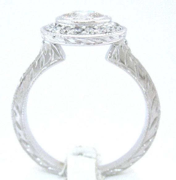 Round Diamond Engagement Ring Art Deco Bezel Set 125ctw
