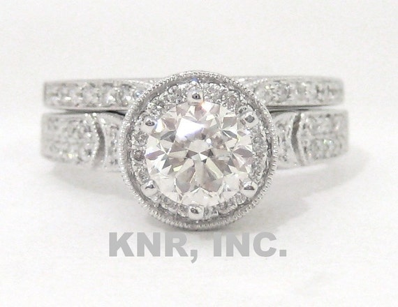 Diamond engagement ring and band antique art deco 1.40ctw