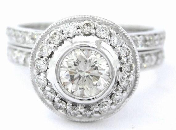 Round diamond engagement ring and band bezel style 1.25ctw