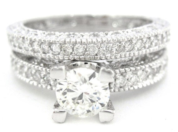 Round cut diamond engagement ring and band art deco 2.15ctw