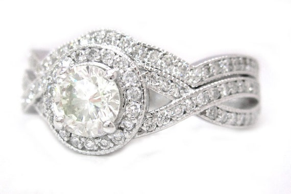 Round cut diamond engagement ring and band 1.50ctw