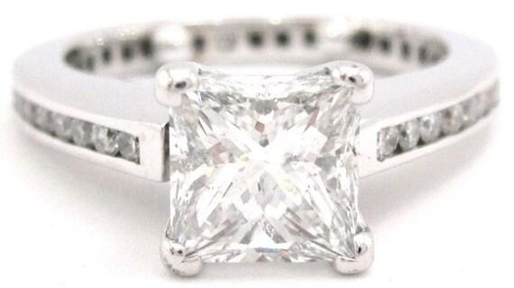 Princess cut diamond engagement ring eternity style 1.70ctw