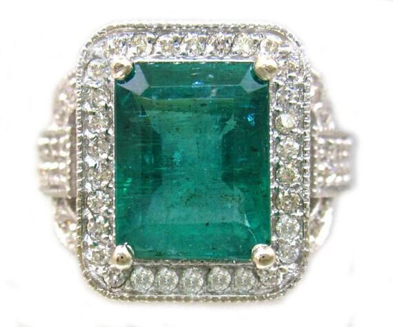 14k white gold green emerald and round cut diamonds ring art deco antique design 4.00ctw