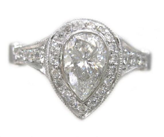 18k white gold pear shape cut diamond bezel set engagement ring art deco 1.48ctw