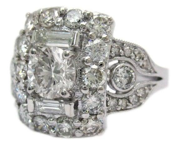 Round cut diamond engagement ring art deco antique style 2.05ctw