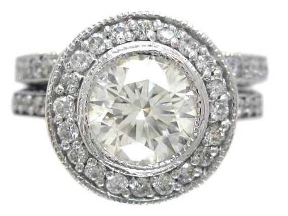 18k white gold round cut diamond engagement ring and band bezel set 1.45ctw