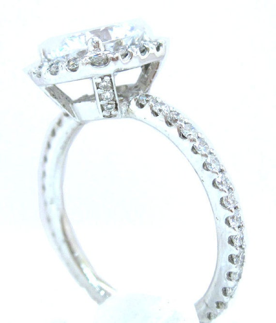 14k white gold round cut moissanite and diamond engagement ring art deco 14k white gold 2.10ctw