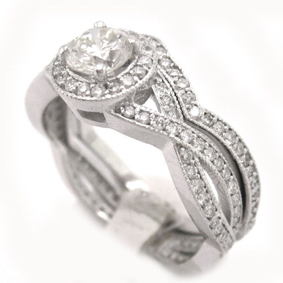 Round cut diamond engagement ring and band prong set 1.71ctw