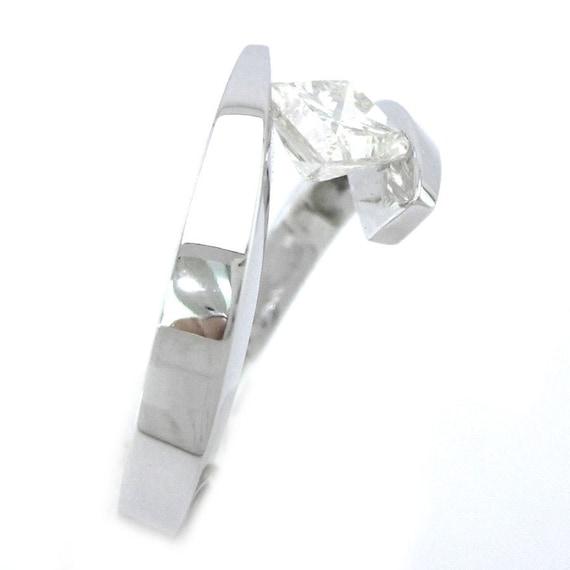 princess cut engagement ring tension set solitaire 14k