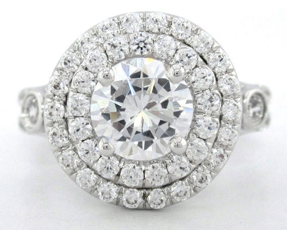 14k white gold round cut diamond engagement ring art deco pave setting 1.72ctw