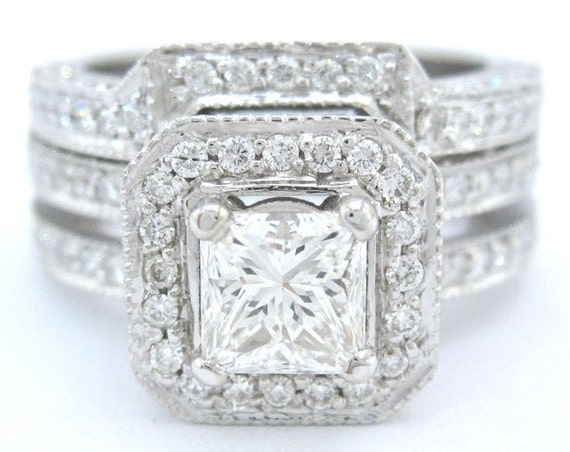 Princess cut diamond engagement ring and band art deco 14k white gold 1.55ctw