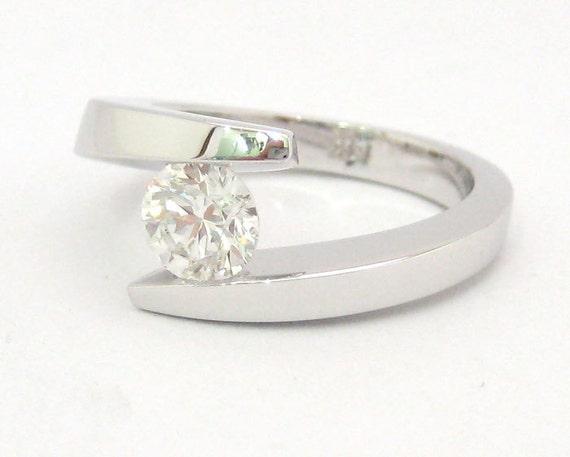 Round cut diamond engagement ring tension set 14k white gold 0.70ctw