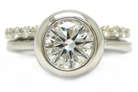 Round cut diamond bezel set engagement ring and band eternity style 1.74ctw