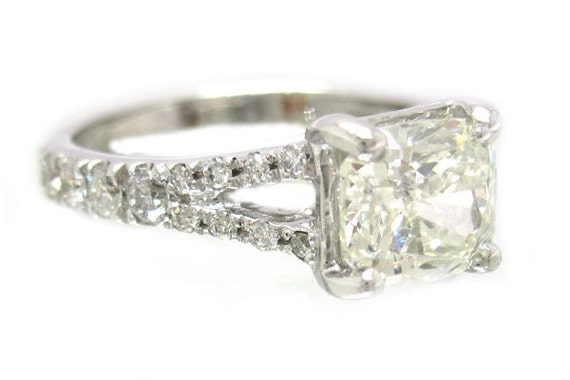 14k white gold cushion cut diamond engagement ring 1.59ctw