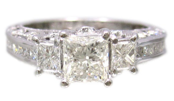14k white gold princess and round diamond engagement ring antique style 2.05ctw