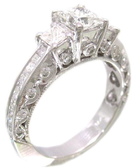 14k white gold princess cut diamond engagement ring antique