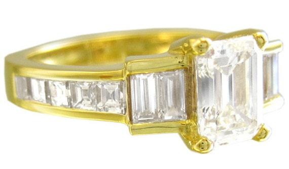 14k yellow gold emerald cut diamond engagement ring prong and channel set 1.85ct