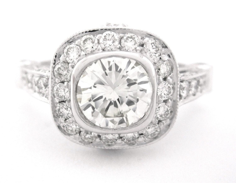 Round Diamond Engagement Ring Bezel Set Art Deco 220ctw By KNRINC