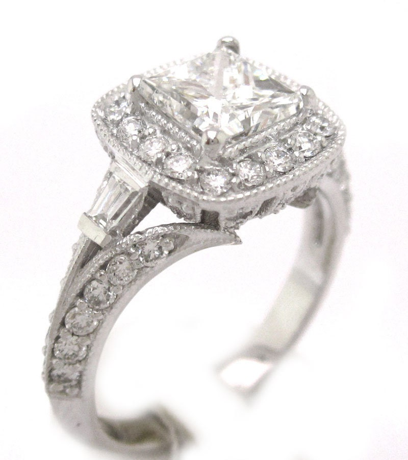 princess cut engagement ring antique style by knrinc
