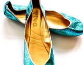Turquoise Glitter Ballet Flats Shoes for Spring & Summer
