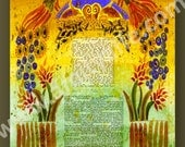 KETUBAH KETUBAHS - Custom Ketubah - Jewish wedding Contract - Wedding Vows - Jewish Judaica art print - Peacocks - Fall wedding - Yelow Red