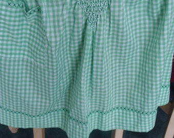 Vintage green & white gingham handmade hand smocked Apron with pocket